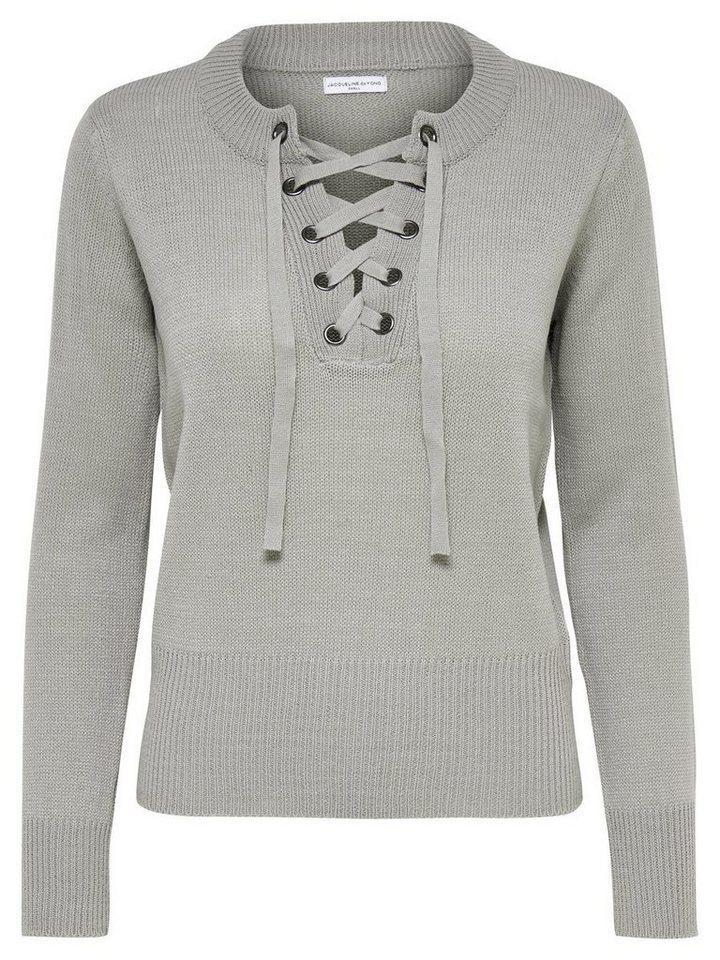 Only Schnür- Strickpullover in Light Grey Melange