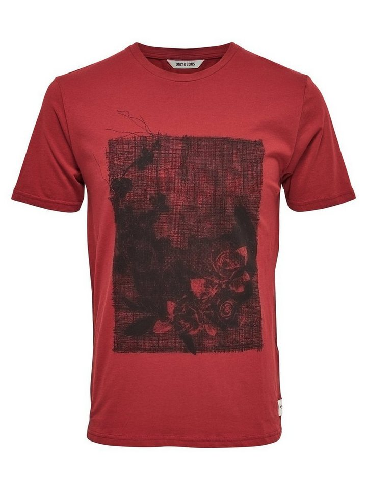 ONLY & SONS Skull- T-Shirt in Rosewood