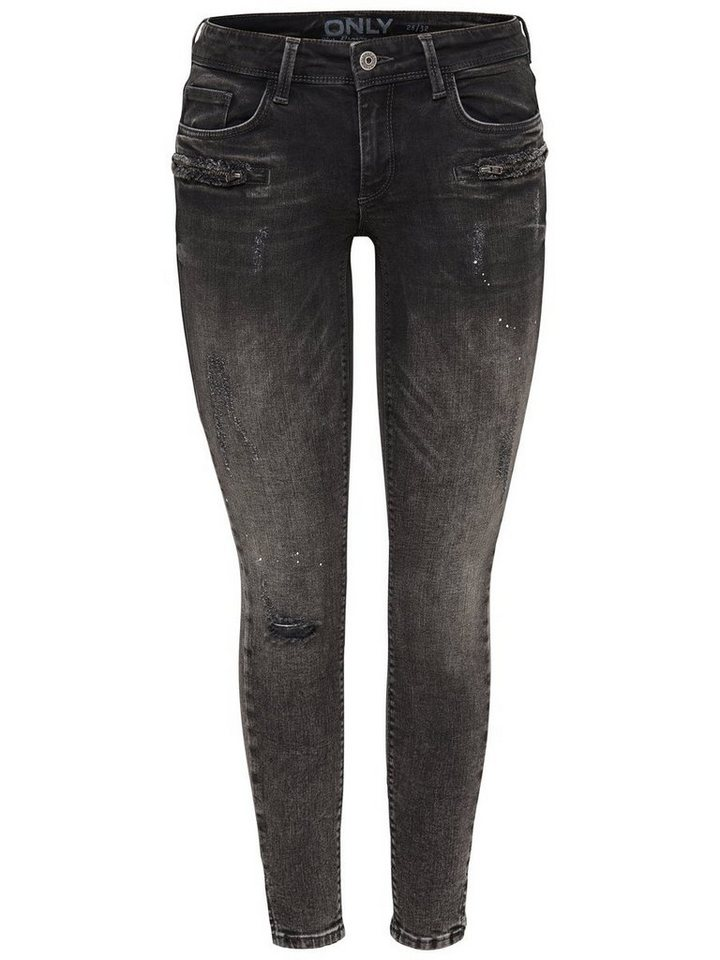 Only Carrie Low Zip Ankle Skinny Fit Jeans in Grey Denim