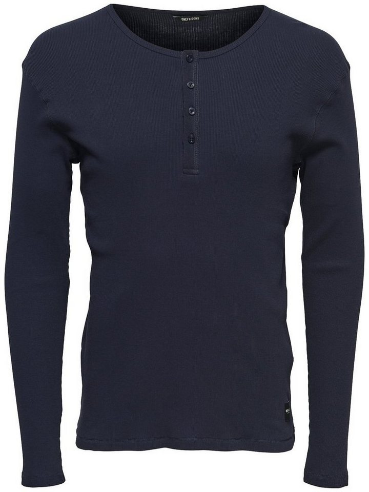 ONLY & SONS Langärmeliges T-Shirt in Mood Indigo