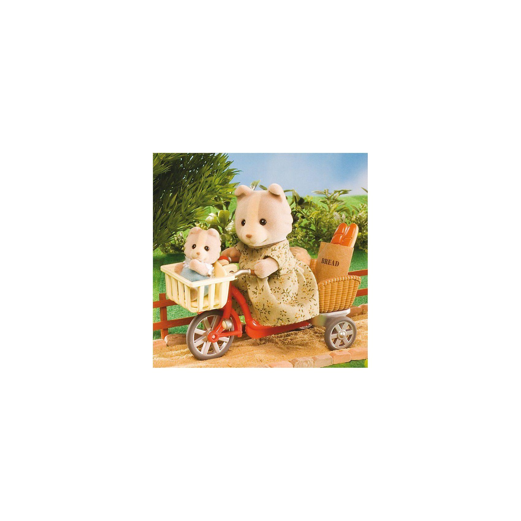 Epoch Traumwiesen Sylvanian Families Fahrradfahren mit Mutter Puppenhauszubehö
