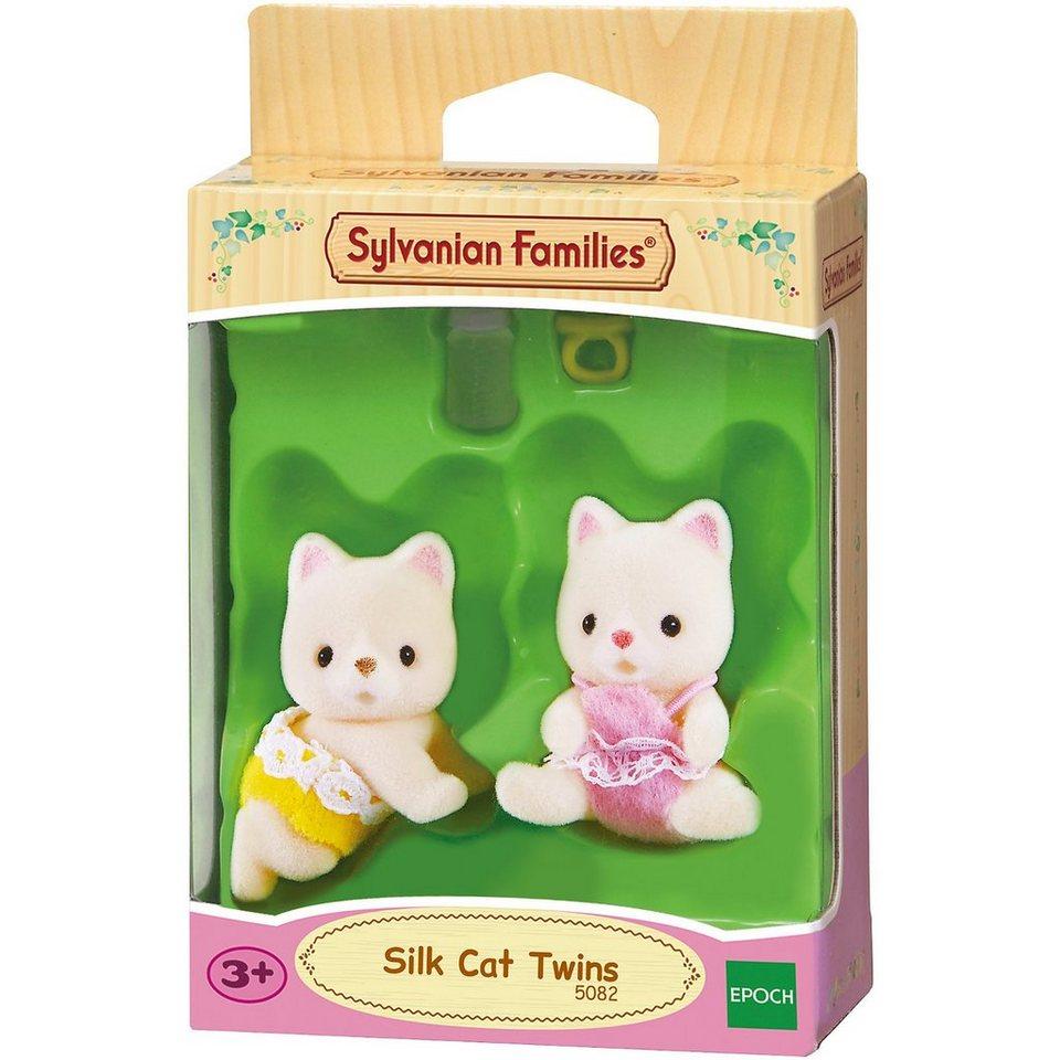 Epoch Traumwiesen Sylvanian Families Seidenkatzen Zwillinge Puppenhauszubehör