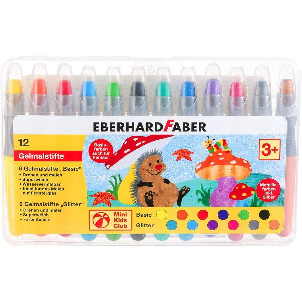 Eberhard Faber Mini Kids Gelmalstifte im Etui Basic&Metallic, 12 Farben