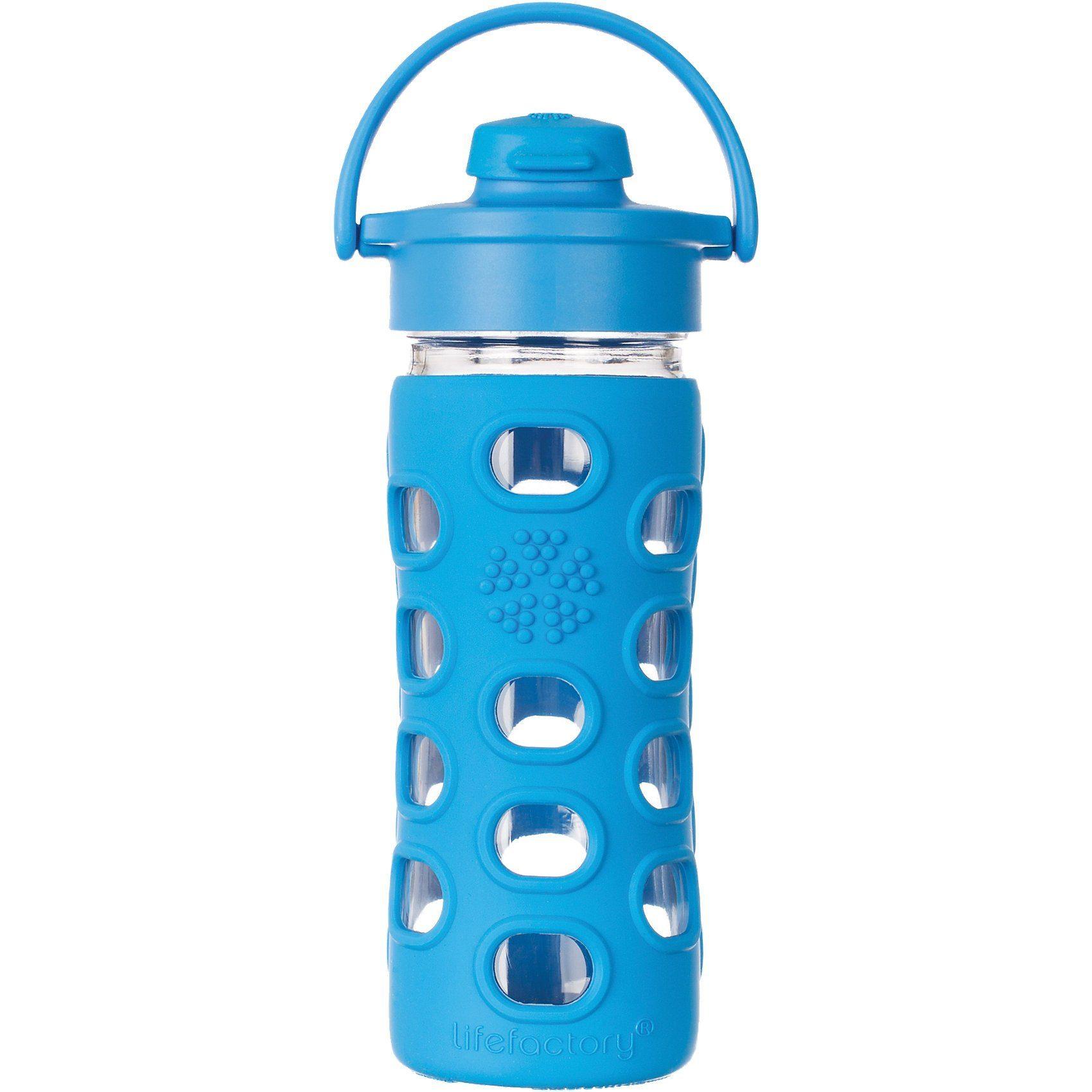 Lifefactory Trinkflasche Glas ocean Flip Top Cap, 350ml