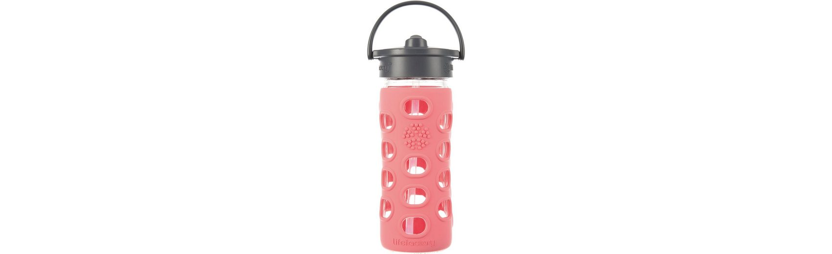 Lifefactory Trinkflasche Glas coral Straw Cap, 350 ml