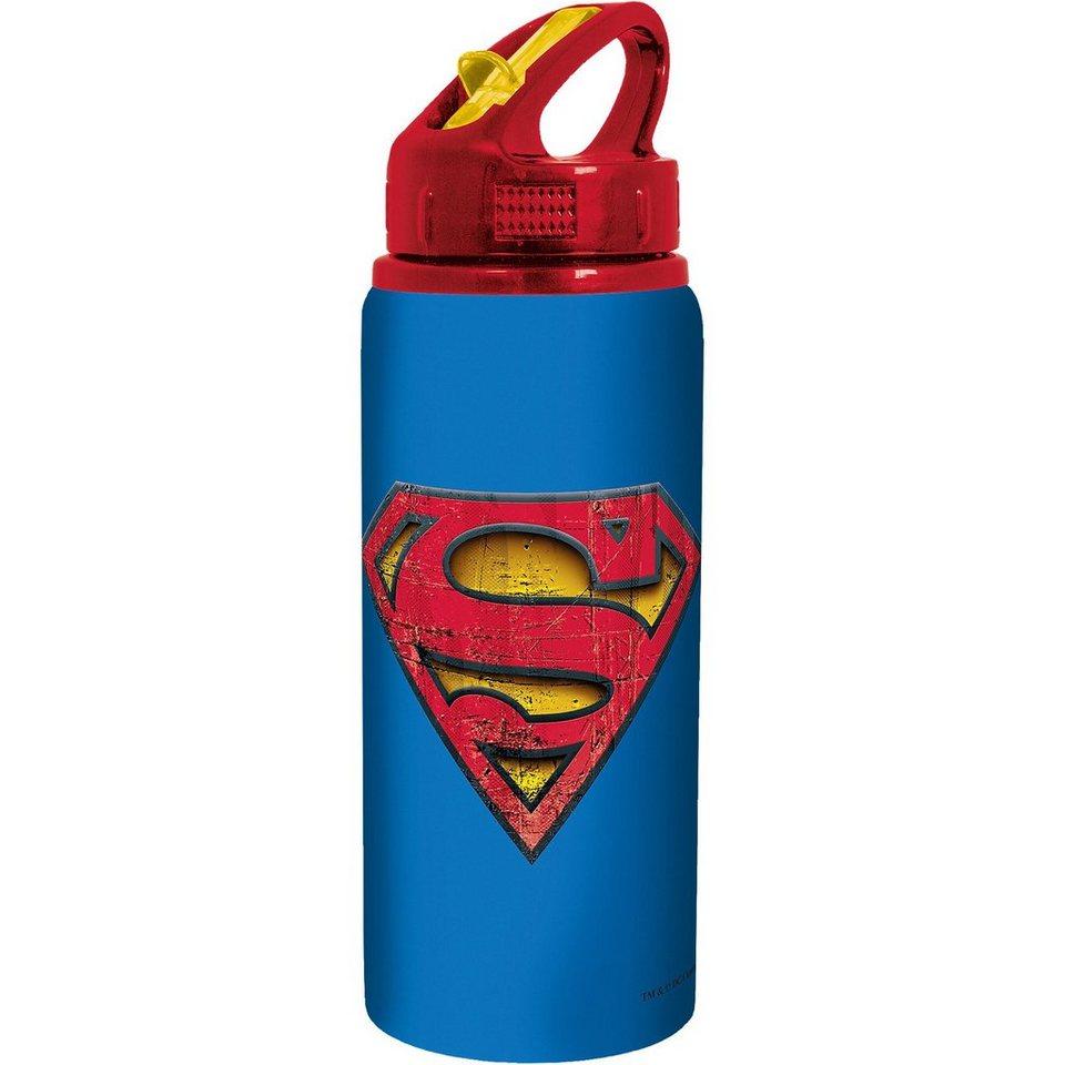 P:OS Alu-Trinkflasche Superman 600 ml, inkl. Strohhalm