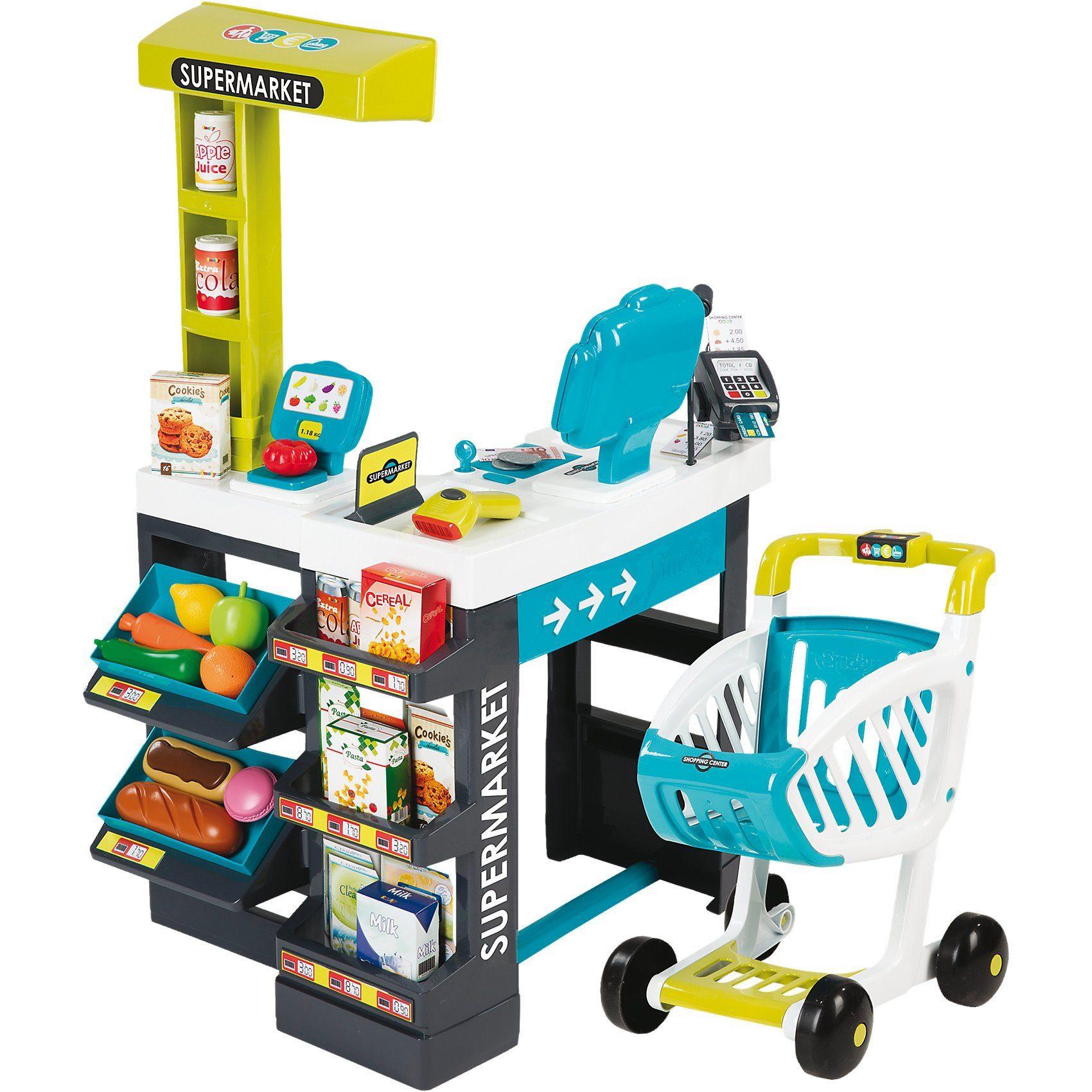 Smoby Supermarkt mit Einkaufswagen türkis/grün