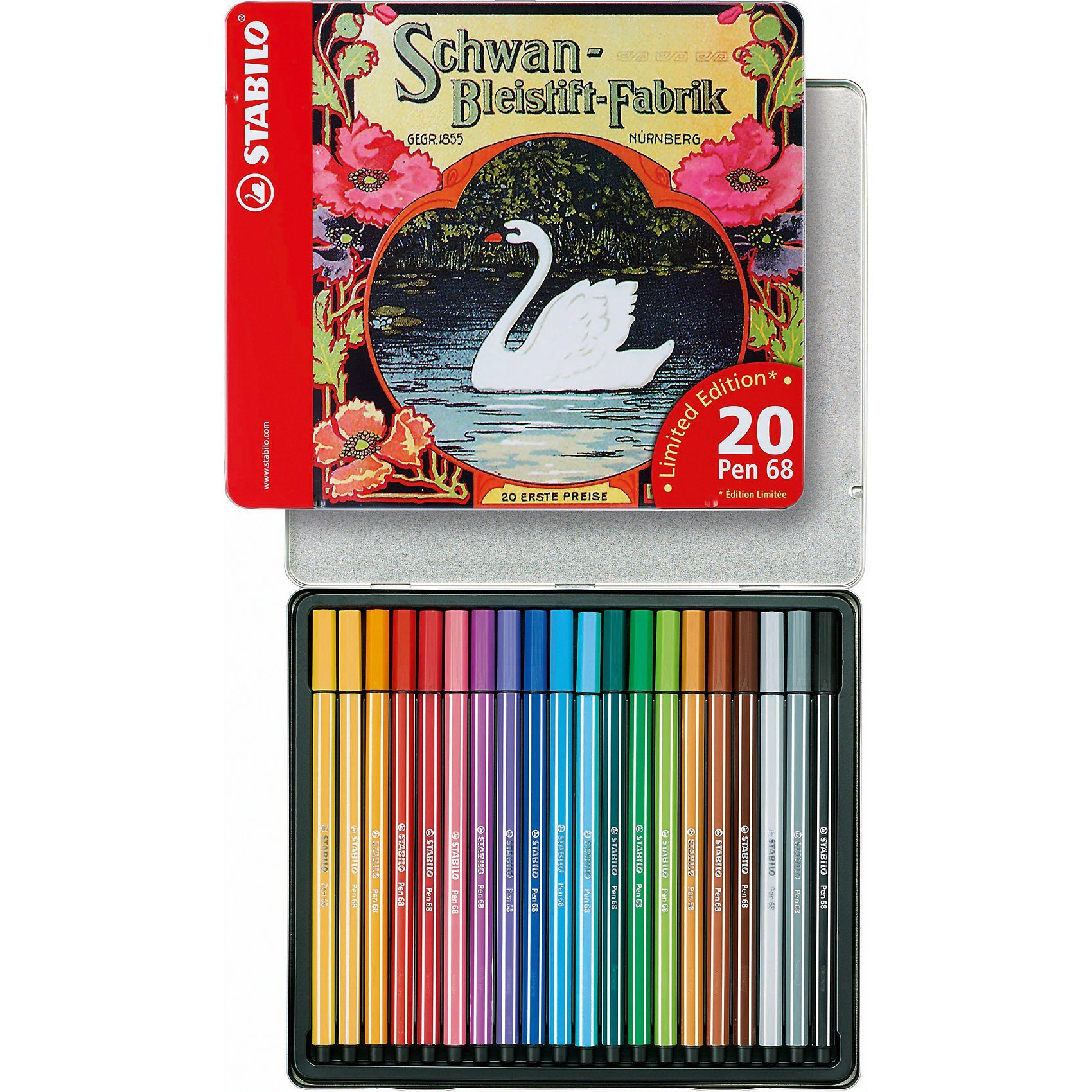 Stabilo LIMITED EDITION Filzstifte Pen 68 Schwan, 20 Farben, Metalle
