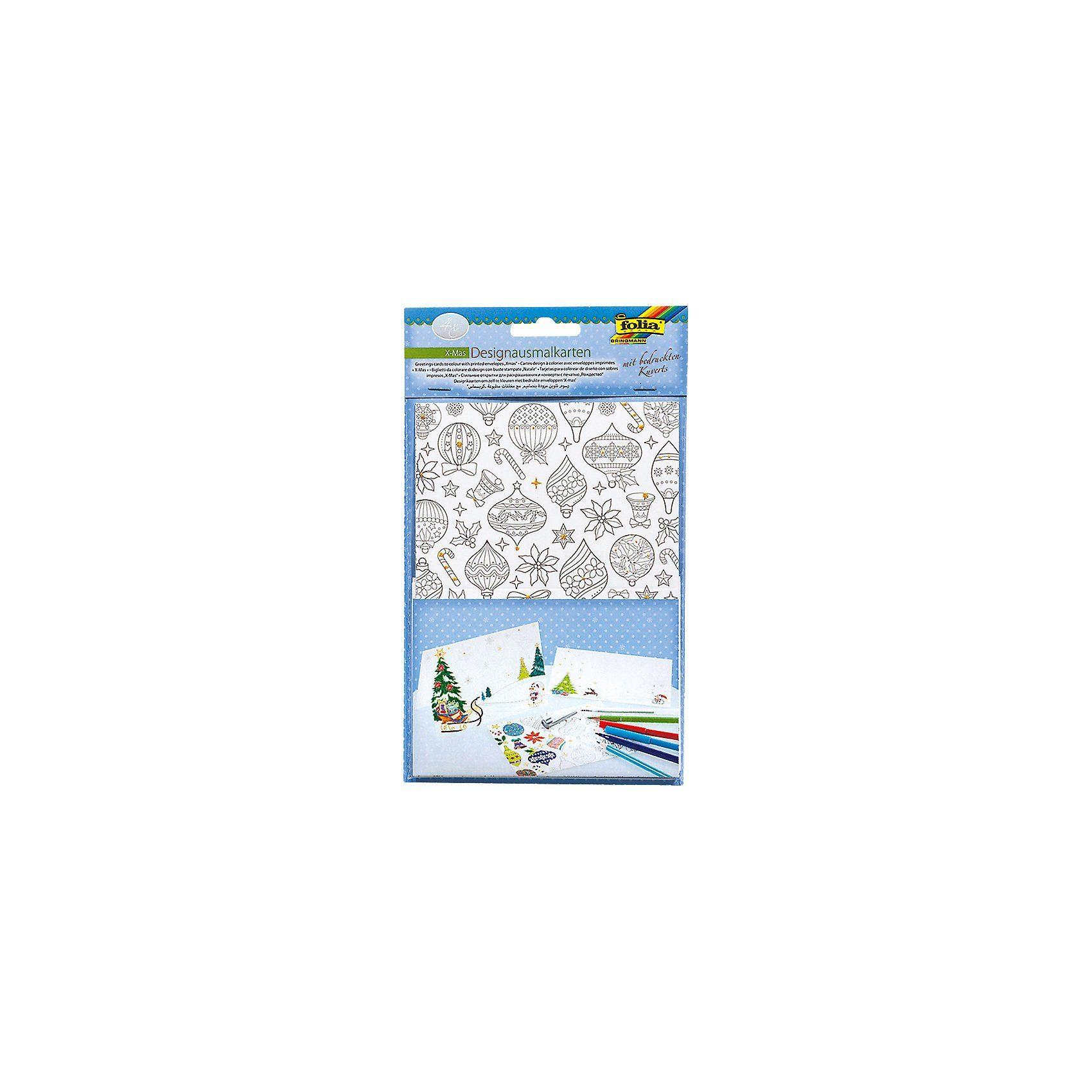Folia Designausmalkarten 4 Motive mit Kuverts, X-Mas