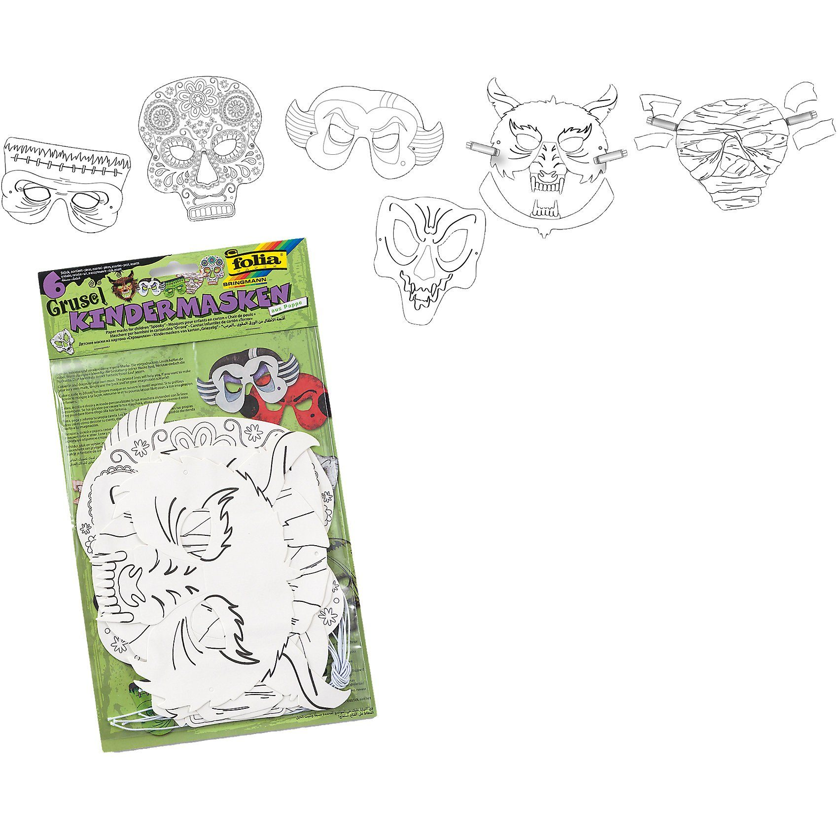 Folia Kindermasken Grusel, 6 Stück