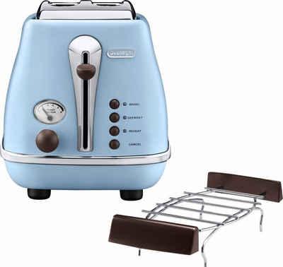 De'Longhi Toaster Incona Vintage »CTOV 2103.AZ«, 2 kurze Schlitze, 900 W, im Retro Look, azur