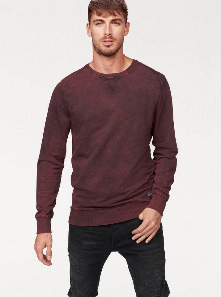 Jack & Jones Sweatshirt in washed Optik in rot-schwarz