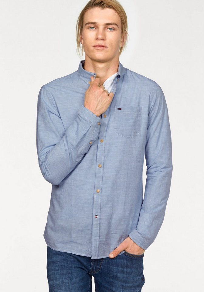 Hilfiger Denim Streifenhemd »Neps stripe shirt l/s« mit dezenter Streifenoptik in hellblau