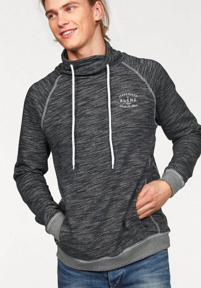 Blend Sweatshirt mit Schalkragen in schwarz-grau-meliert