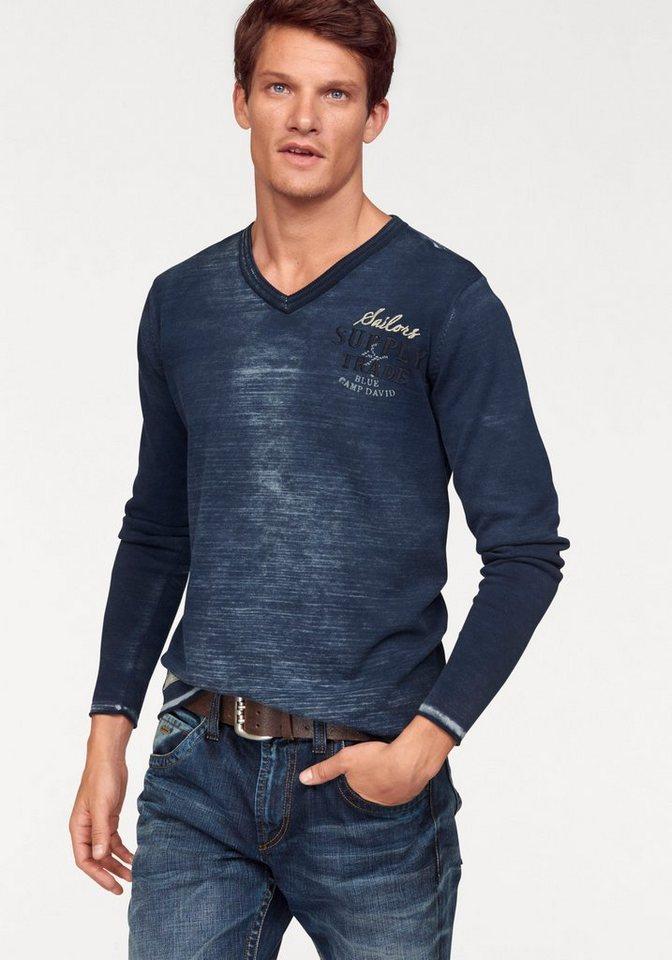 CAMP DAVID V-Ausschnitt-Pullover In Oil washed-Optik in dunkelblau