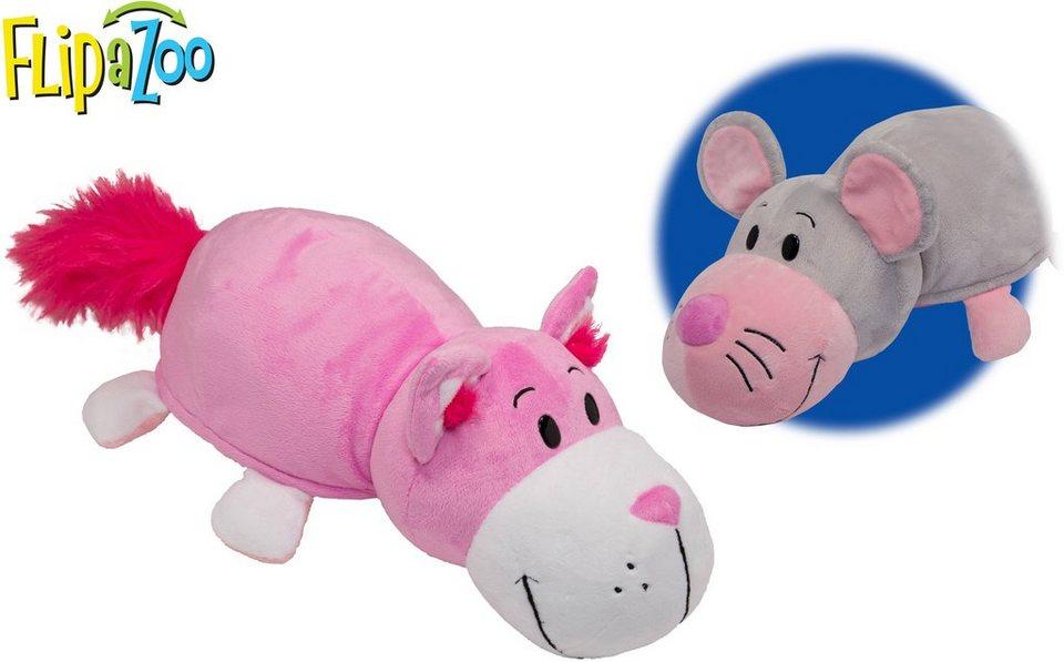 Vivid 2in1 Plüschtier mit Wendefunktion, »Flip a Zoo Manni Maus und Pinke Katze Kathie«