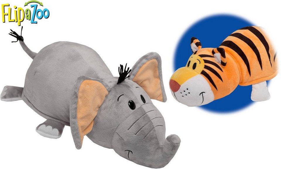 Vivid 2in1 Plüschtier mit Wendefunktion, »Flip a Zoo Elefant Emma und Tiger Theo«