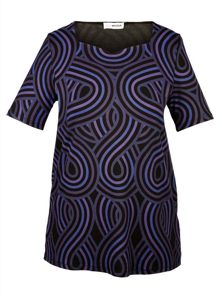 MIAMODA Shirt mit elegantem Druckdessin in schwarz/lila