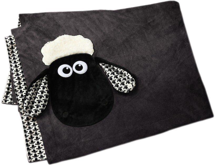 NICI Gemusterte Plüschdecke mit Stoffkopf, »Shaun das Schaf«