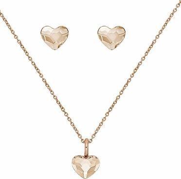 Lolaandgrace Schmuckset »SPARK HEART SET, 5217117« mit Swarovski® Kristallen in roségoldfarben-champagner