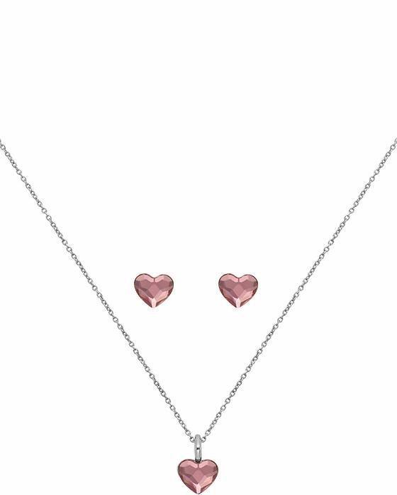 Lolaandgrace Schmuckset »SPARK HEART SET, 5217118« mit Swarovski® Kristallen in silberfarben