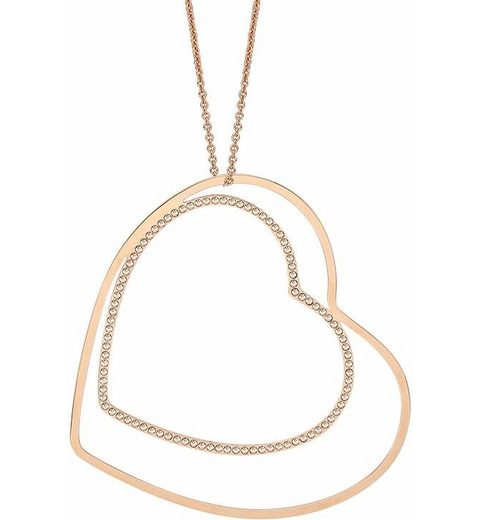 Lolaandgrace Kette mit Anhänger »VENICE DOUBLE HEART PENDANT, 5217073« mit Swarovski® Kristallen
