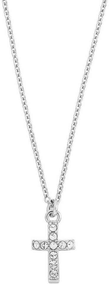 Lolaandgrace Kette mit Anhänger »SYMBOL: PENDANT CROSS, 5099649« mit Swarovski® Kristallen in silberfarben
