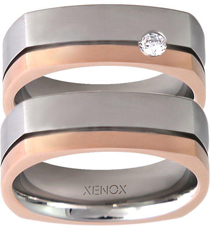 XENOX Partnerring »X2243, X2244« wahlweise mit oder ohne Zirkonia in silberfarben-roségoldfarben