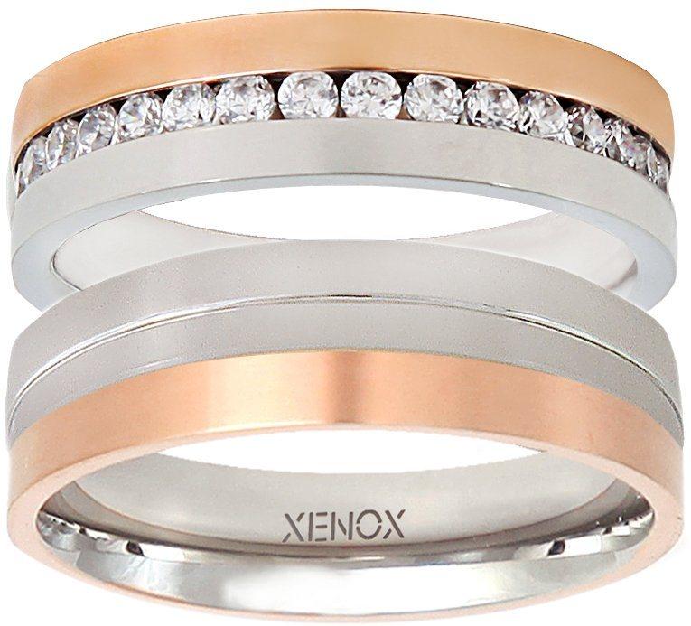 XENOX Partnerring »X2245, X2246« wahlweise mit oder ohne Zirkonia in silberfarben-roségoldfarben