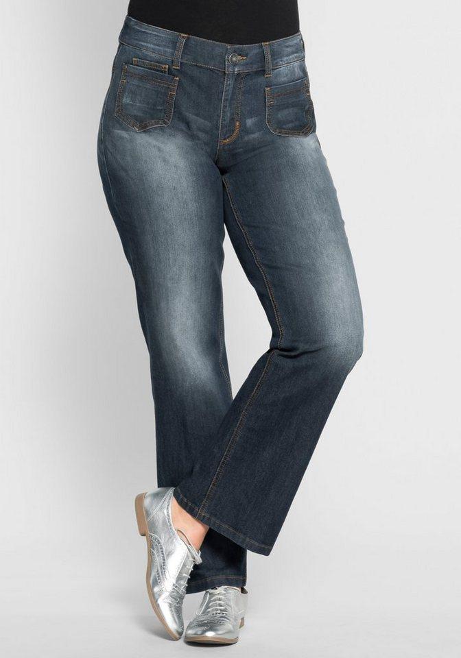 sheego Denim Weite Stretch-Jeans in Used-Optik in dark blue denim