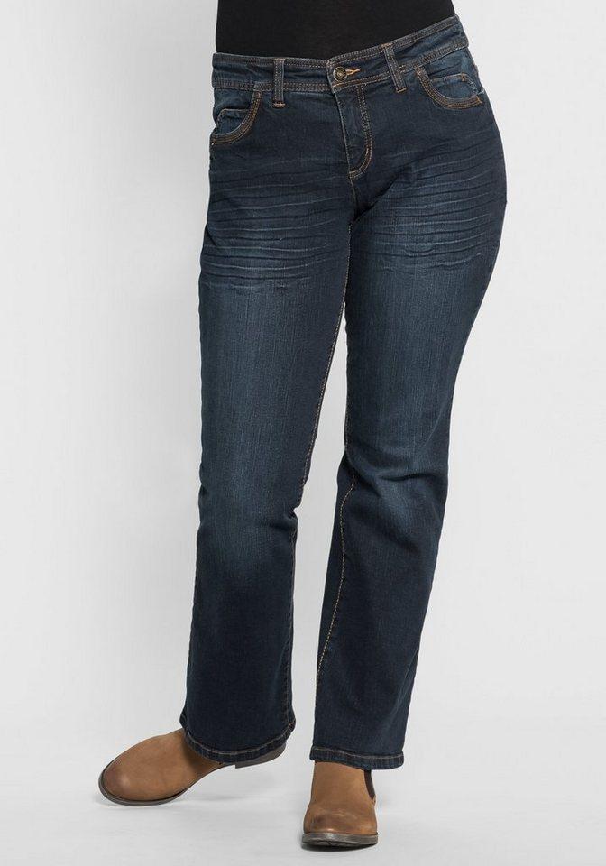 sheego Denim Bootcut-Stretch-Jeans in dark denim