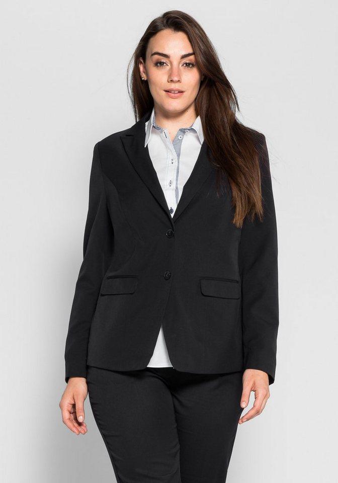 sheego Class Blazer im klassischen Stil in schwarz