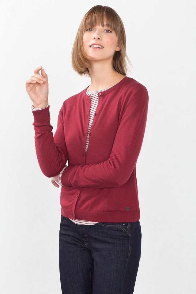 EDC Basic Feinstrick-Cardigan in BORDEAUX RED