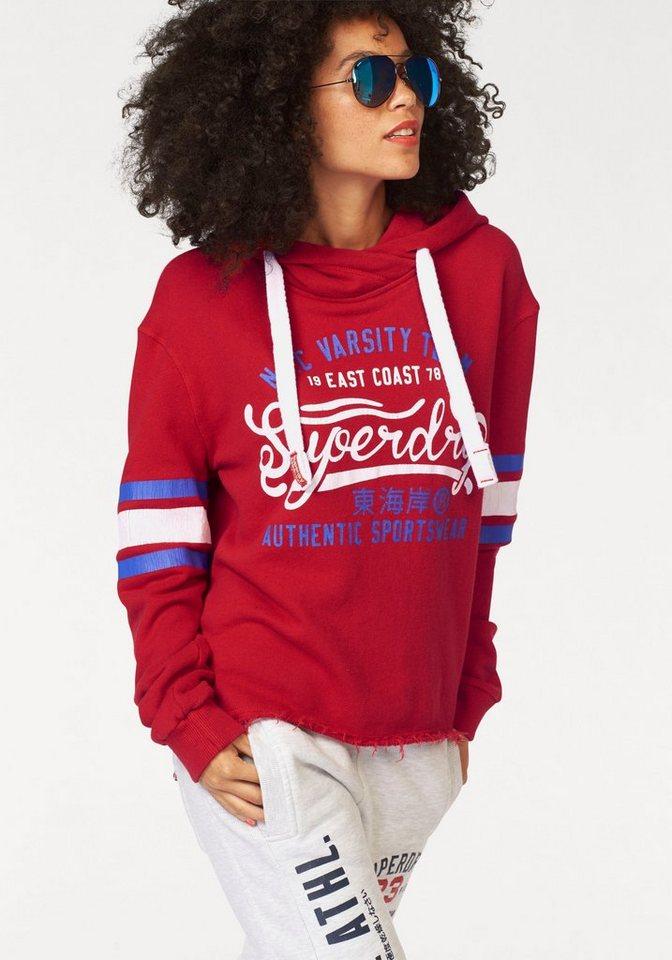 Superdry Kapuzensweatshirt »NY Varsity Team Crop Hood« in trendiger Kurzform in rot