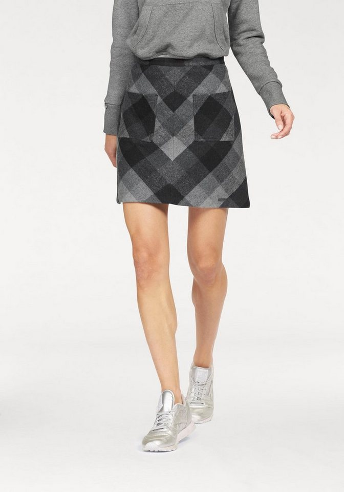 Superdry Karorock »North Check Mini Skirt« mit übergroßem Kao in grau-schwarz