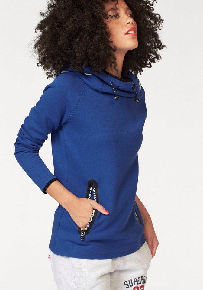 Superdry Sweater »Gym Tech cowl Hood« mit Kontrastbesätzen in blau