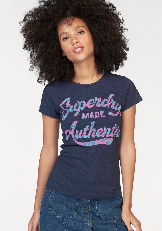 Superdry T-Shirt »Made Authentic« in marine-meliert