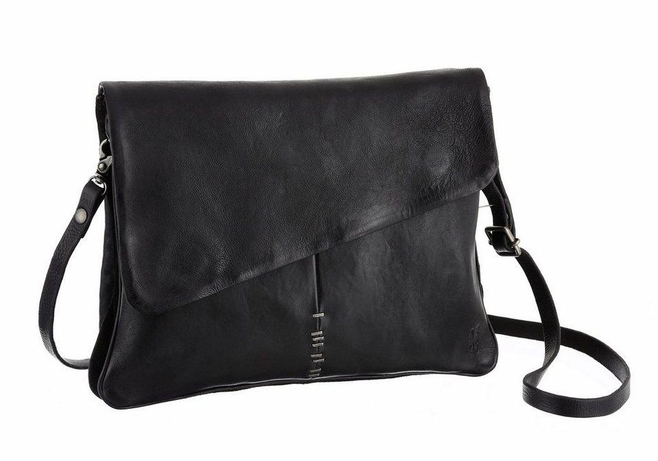 A.S.98 Schultertasche aus hochwertigem Leder in schwarz