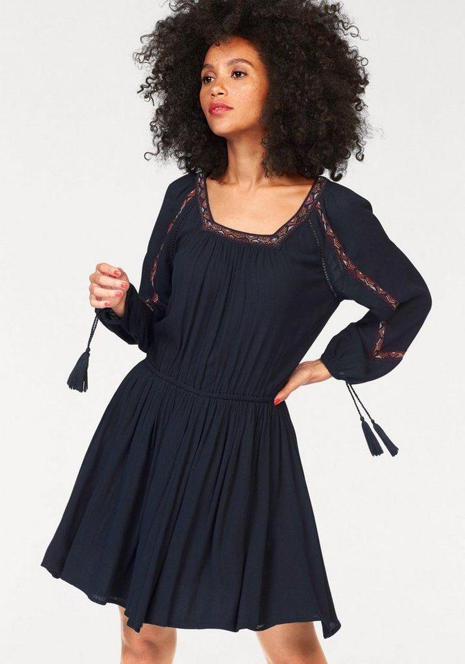 Superdry Webkleid »Topeka Square Neck Dress« mit Stickerei und Lochstickerei in marine