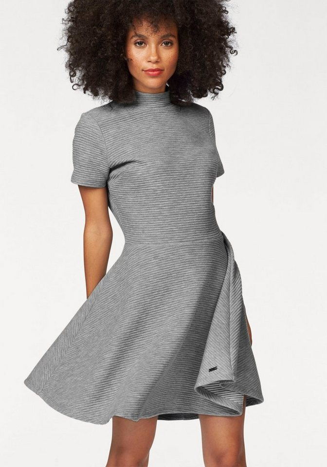 Superdry Skaterkleid »Erin Collar Band Dress« in Rippenoptik in grau-meliert