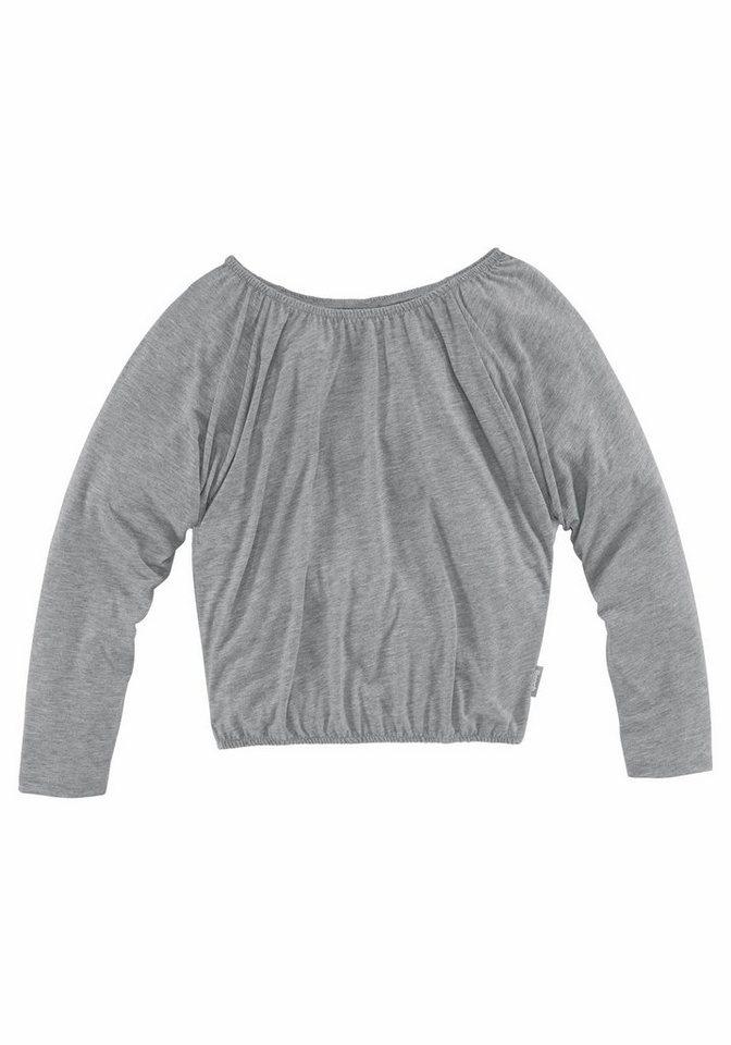 Bench Langarmshirt mit Fledermausärmeln in grau-meliert