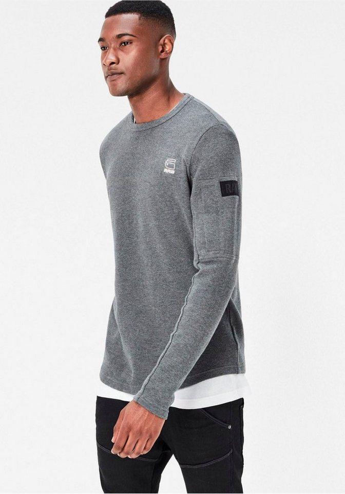 G-Star Sweatshirt mit Ärmeltasche in anthrazit-meliert
