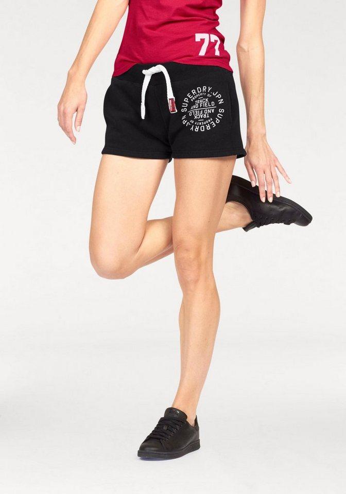 Superdry Sweatshorts »Track & Field Short« mit Logo Print in schwarz