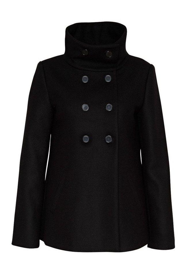HALLHUBER Wolljacke mit Stehkragen in schwarz