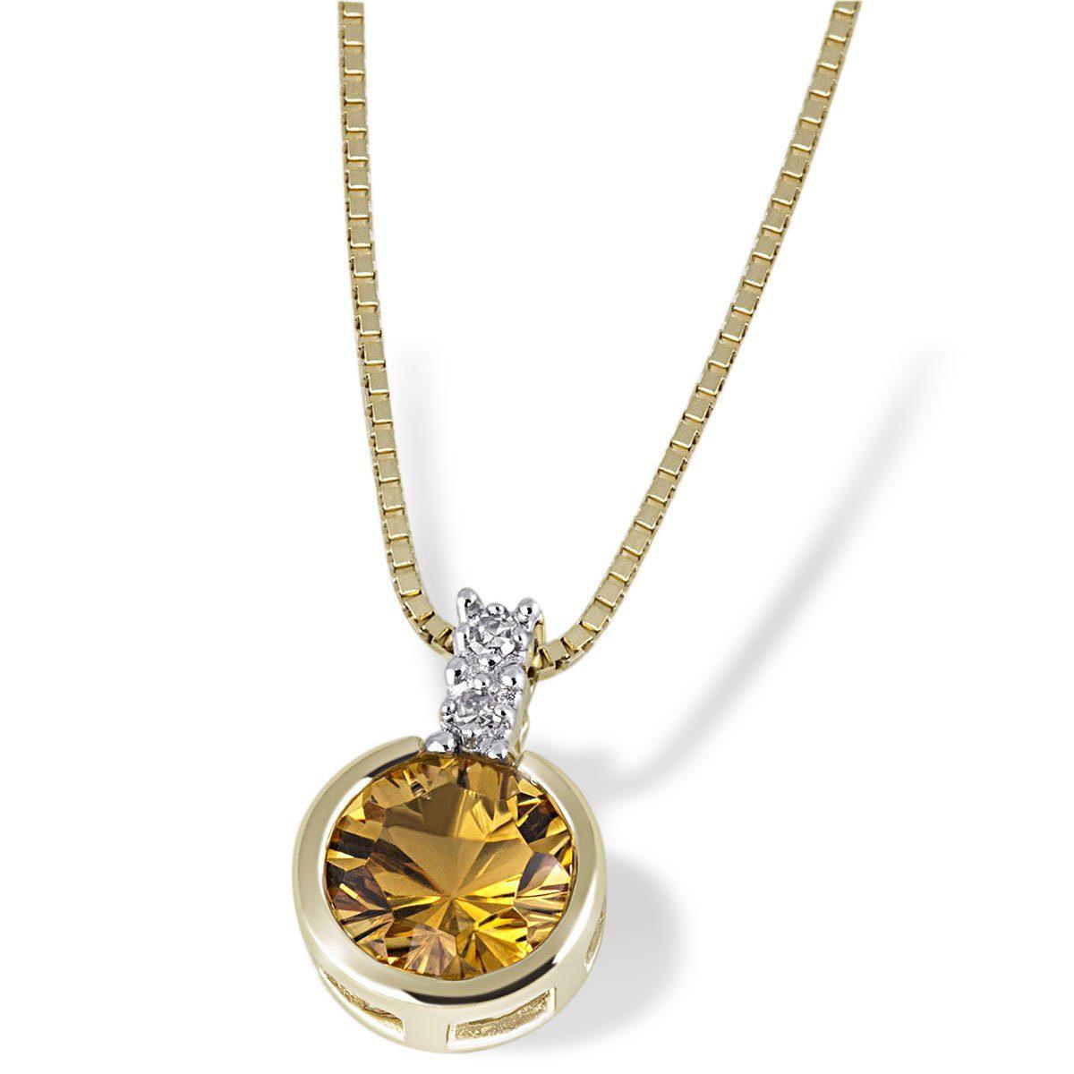 goldmaid Collier 375/- Gelbgold 1 Citrin 2 Diamanten 0,02 ct.