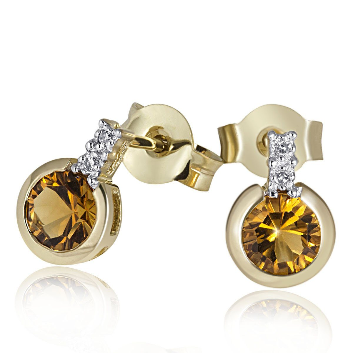 goldmaid Paar Ohrstecker 375/- Gelbgold 2 Citrine 4 Diamanten 0,02 ct.