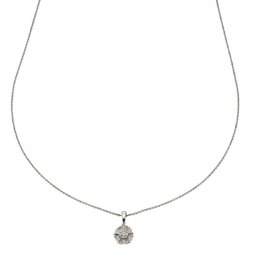 CELESTA Collier »925/- Silber 7x Diamant« in Silbergrau