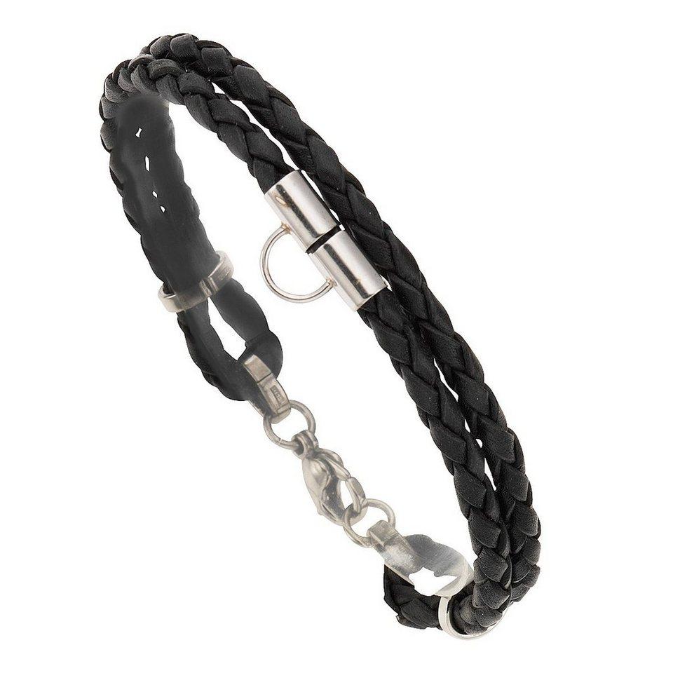 Zeeme Armband »Charm-Armband Leder schwarz 19cm« in schwarz