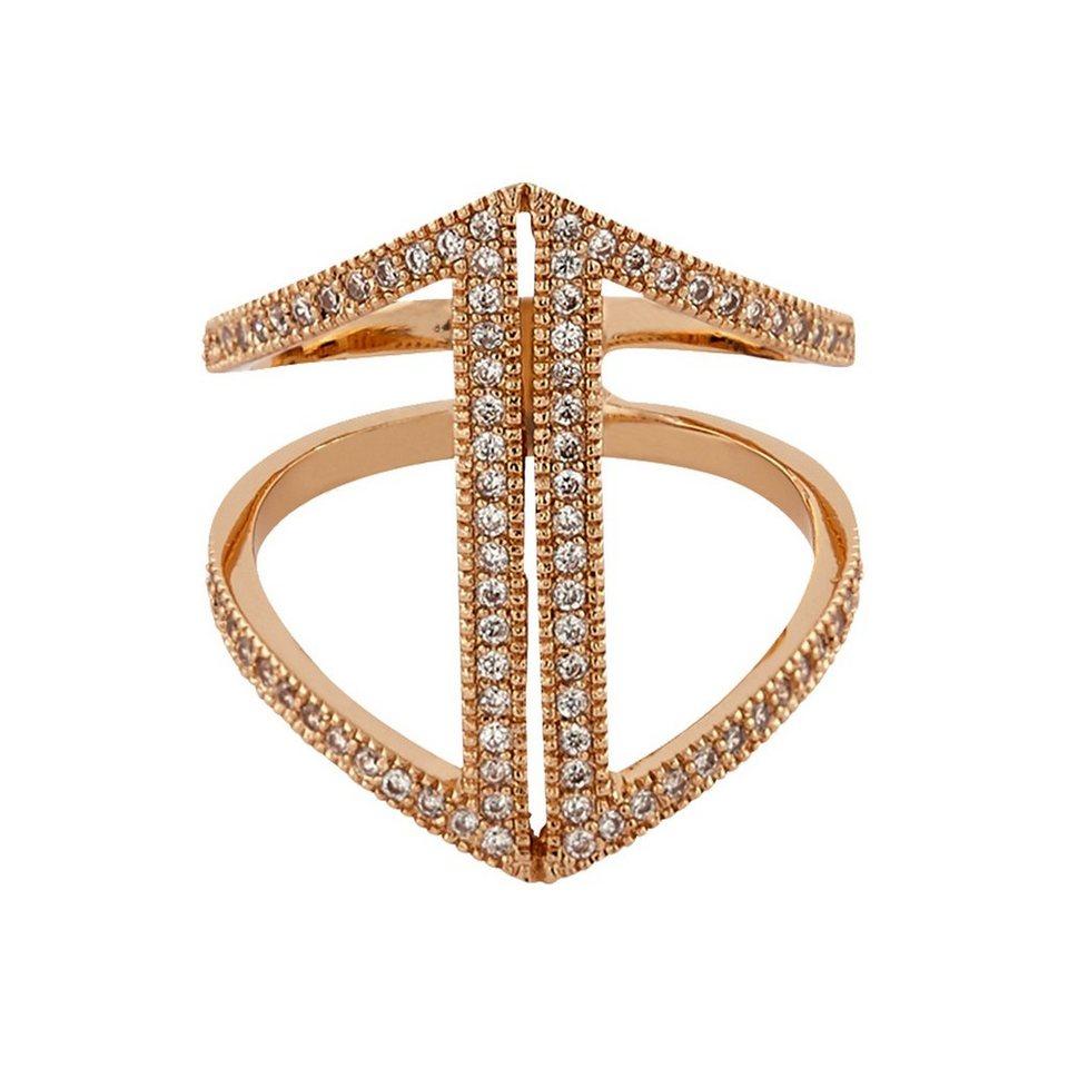 Buckley London Ring rosévergoldet mit Zirkonia in rosa
