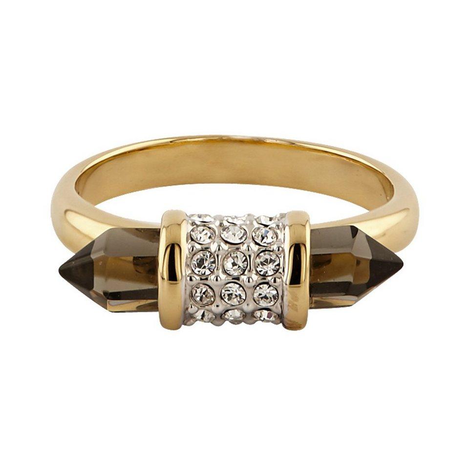 Buckley London Ring vergoldet mit Kristallen und Smokey Glas in gelb